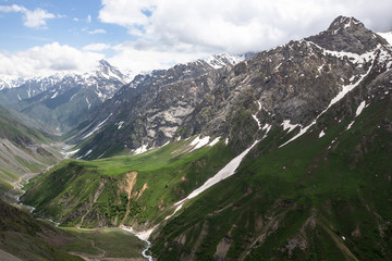 Pass with the glacier and green grass. Fann Mountains. Tajikista