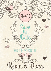 Doodle Style Wedding Invitation with Love Birds and Monogram