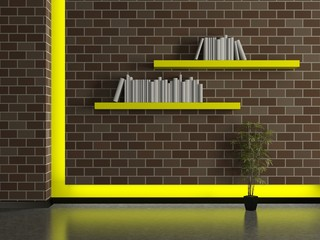 Modern house interior, brick wall with book shelves