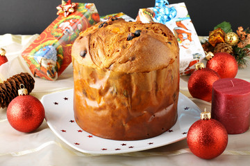 Panettone in Christmas table