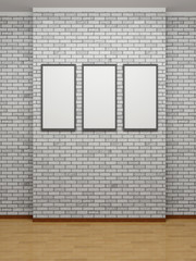 Picture frames or photos on the white bricks wall