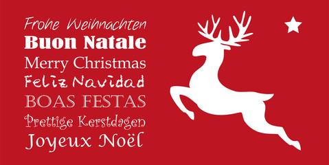 Rote Weihnachtskarte Rentier