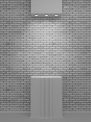 A lighted niche on the bricks wall for the exhibition and presen