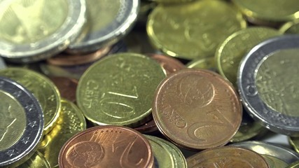 European Coins (close-up 4K dolly footage)