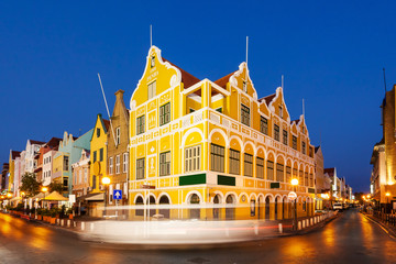 Willemstad at twilight, Curacao, Netherlands Antilles