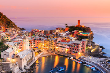 Vernazza village at sunset. Cinque Terre National Park.