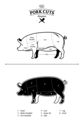 American (US) Pork Cuts Diagram