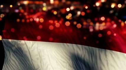 Indonesia Monaco Flag Night Bokeh Abstract Loop Animation