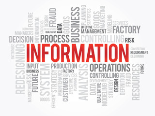 Word cloud of INFORMATION related items, vector background