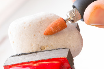 Cutting and polishing stone with rotary multi tool