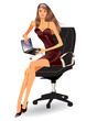 Business woman with laptop - vector illustration