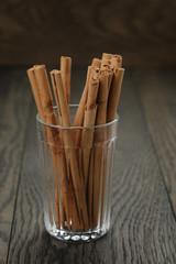 true cinnamon sticks in glass
