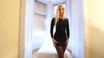 Sexy Czech woman in black dress