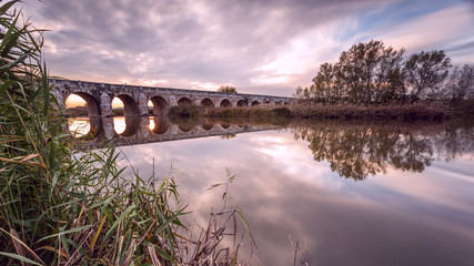 Longest bridge in Aranjuez. Spain. Sunset