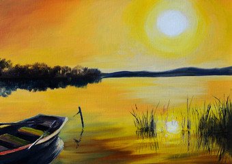 Oil Painting landscape - beautiful lake at colorful sunset, with