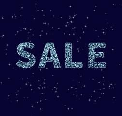 """Sparkling """"sale"""" text on dark background"""