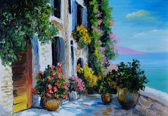 Oil Painting - stone embankment, filled with flowers near the se