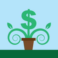 Dollar sign as a potted plant