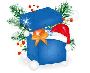 Коробка. Шапка Санта Клауса. Дед мороз. Сосновая ветка
