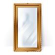 Big mirror in vintage frame, blurry reflection.