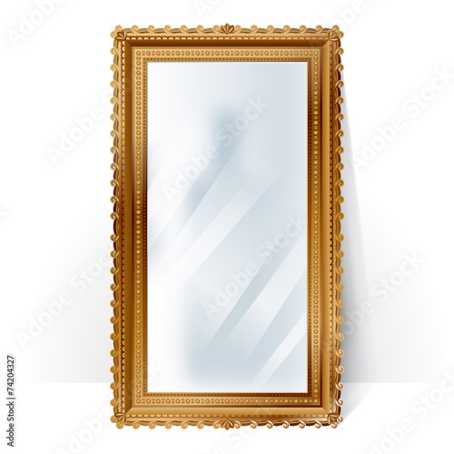 Big mirror in vintage frame, blurry reflection. - 74204327