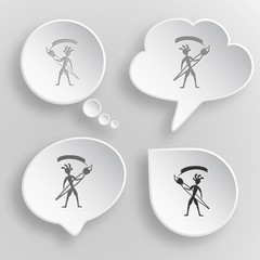 Ethnic little man with brush. White flat vector buttons on gray
