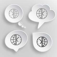 Globe and clock. White flat vector buttons on gray background.