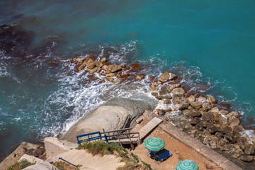 The beach on the rocky coast