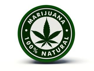Marijuana 100% natural label. 3d illustration.