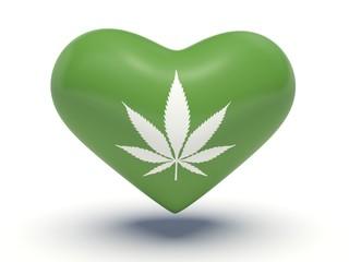 Marijuana leaf heart. 3d illustration.