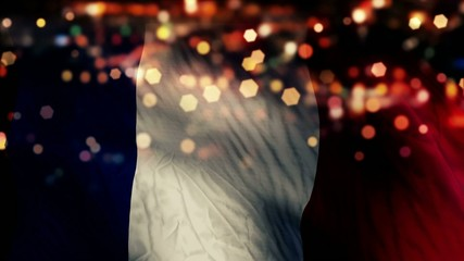 France Flag Light Night Bokeh Abstract Loop Animation
