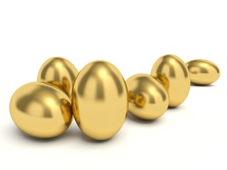 Golden eggs. 3d render illustration.