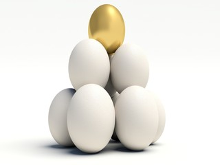 Pile of vertical white eggs with Golden egg on top.