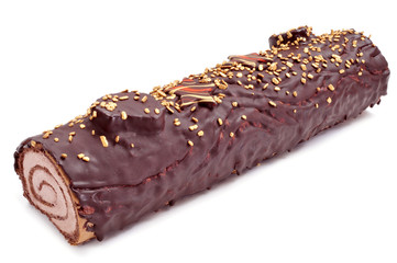 yule log cake, traditional of christmas time