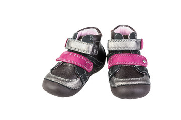Grey baby's shoes   on white background