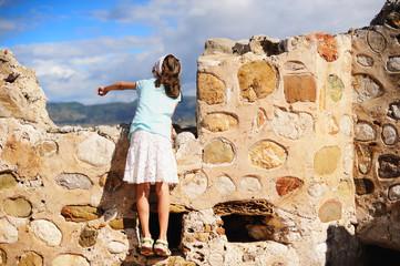 Kid girl during sightseeing