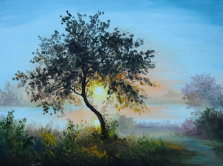 Oil painting - tree in a field at sunrise