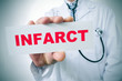 doctor with a signboard with the word infarct