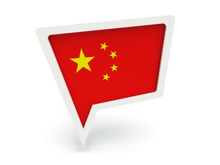 Bubble speech with the flag of China.