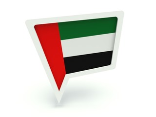 Bubble speech with the flag of the United Arab Emirates.