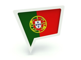 Bubble speech with the flag of Portugal.