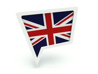 Bubble speech with the flag of the United Kingdom.