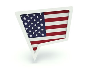 Bubble speech with flag of the United States of America.