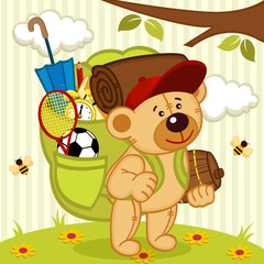 teddy bear goes hiking - vector illustration, eps