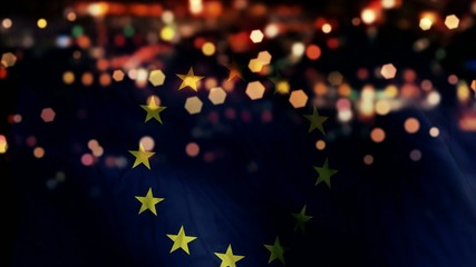 Europe Flag Light Night Bokeh Abstract Loop Animation
