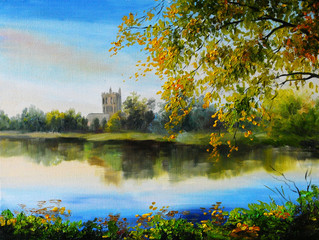 Oil painting landscape - castle near lake, tree over the water,