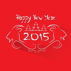 new year 2015 goat logo symbol flat icon