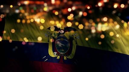 Ecuador Flag Light Night Bokeh Abstract Loop Animation