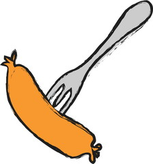 cartoon Sausage on fork