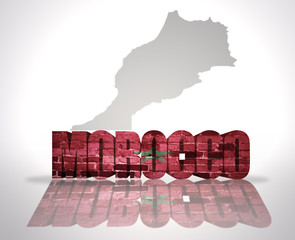 Word Morocco on a map background